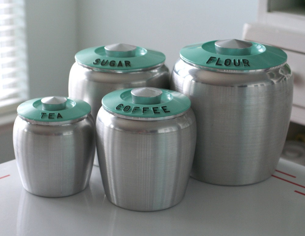 Set Of Kromex Turquoise Canisters