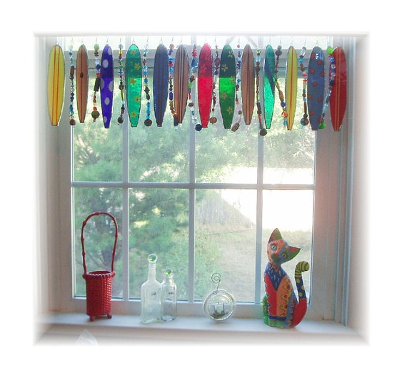 Stained Glass Surfboard Whimsy  Window Treatment Valance