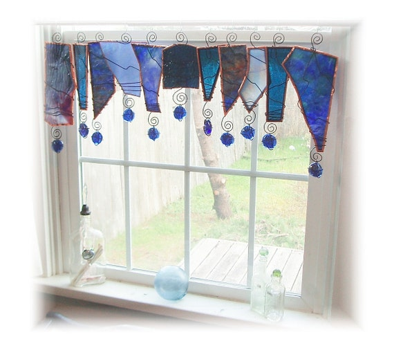 Cure for the Blues Glass Window Treatment Window Valance