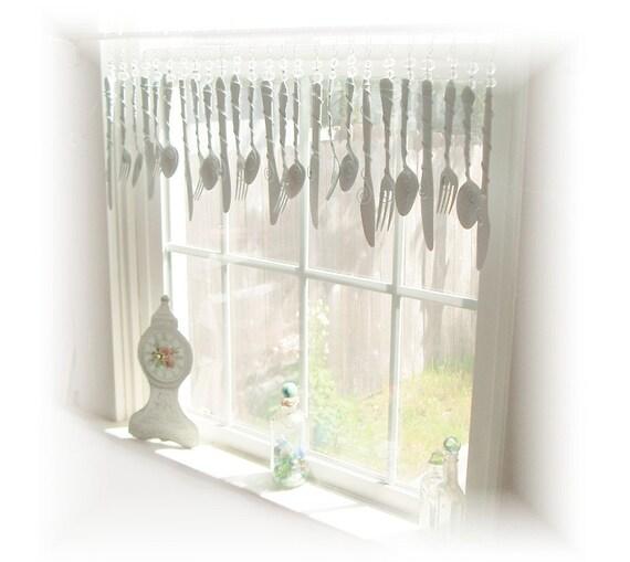 Shabby White Flatware Whimsy Window Treatment Valance