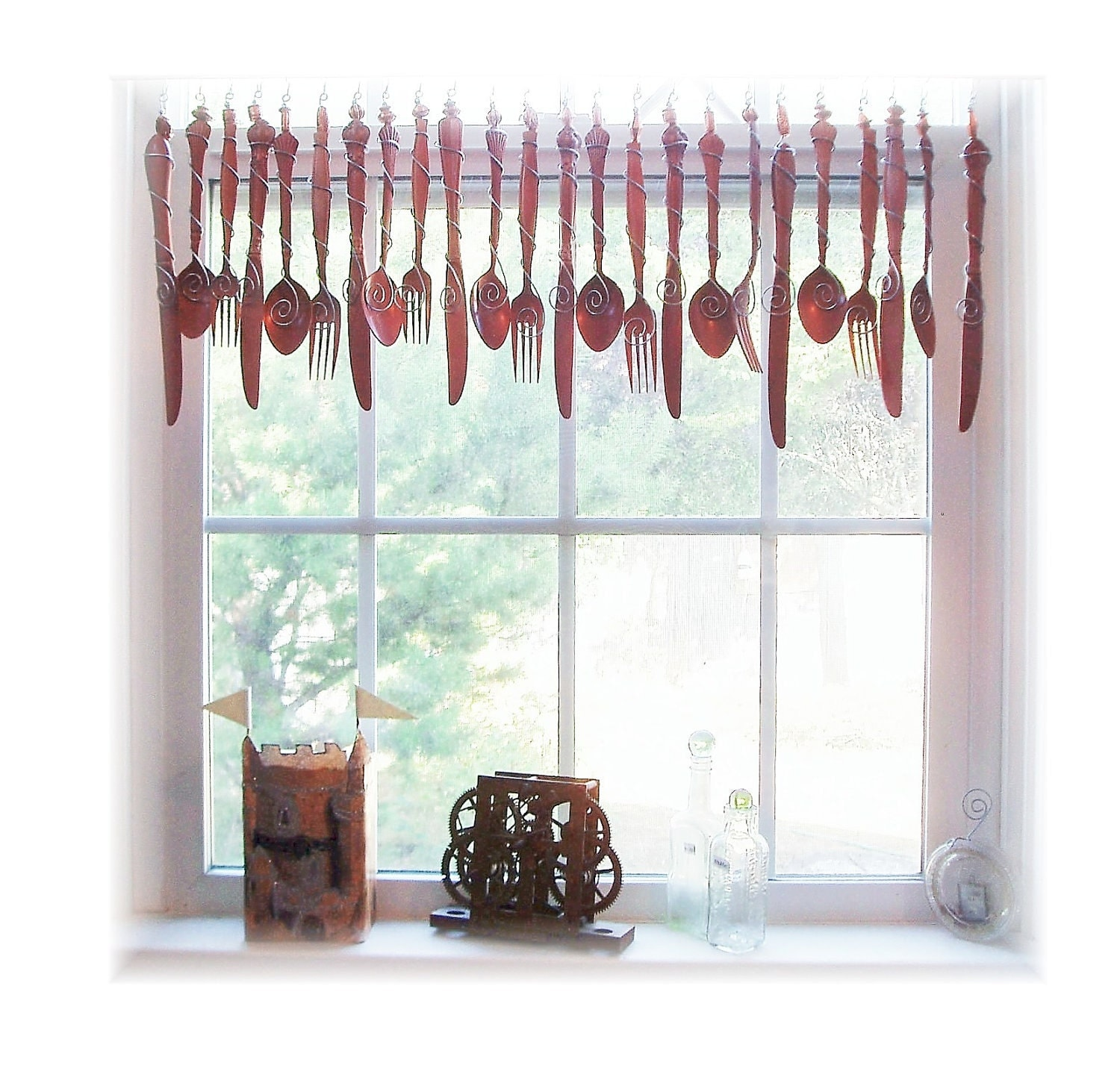 Classy Copper Flatware Window Treatment Valance