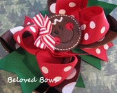 Embroidered Felt Gingerbread Girl Boutique Style Layered Hair Bow Christmas Winter
