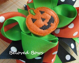 Jack O Lantern Halloween Hair Bow, Pumpkin Hair Bow, Layered Hair Bow, Toddler Hair Bow, Fall Hair Bow, Orange and Black Bow
