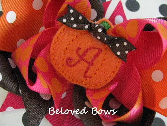Embroidered Fall Halloween Pumpkin Monogrammed Initial Boutique Style Hair Bow Orange Brown Fushia