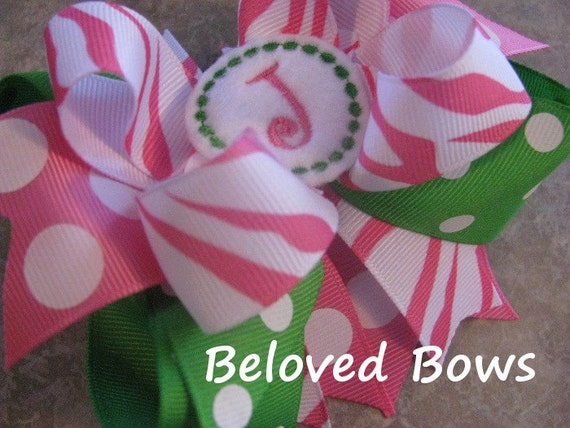 Embroidered Felt Initial Boutique Style Hair Bow Pink Zebra and Apple Green