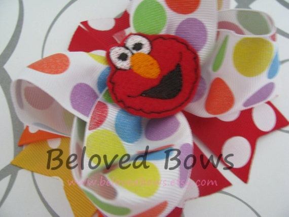 Embroidered Felt Elmo Spikey Boutique Style Hair Bow-Birthday Bow