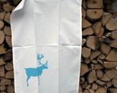 Reindeer teatowel hand printed by strandredesign