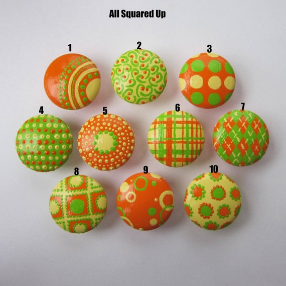 Set of 4-Yellow, Green, Orange DRAWER KNOBS- Mix and Match-You choose which designs