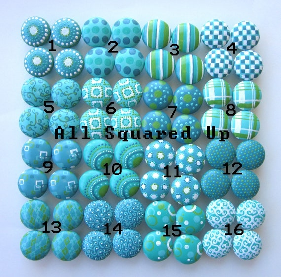 Set of 4-Aqua, Green, and White DRAWER KNOBS- Mix and Match-You choose which designs