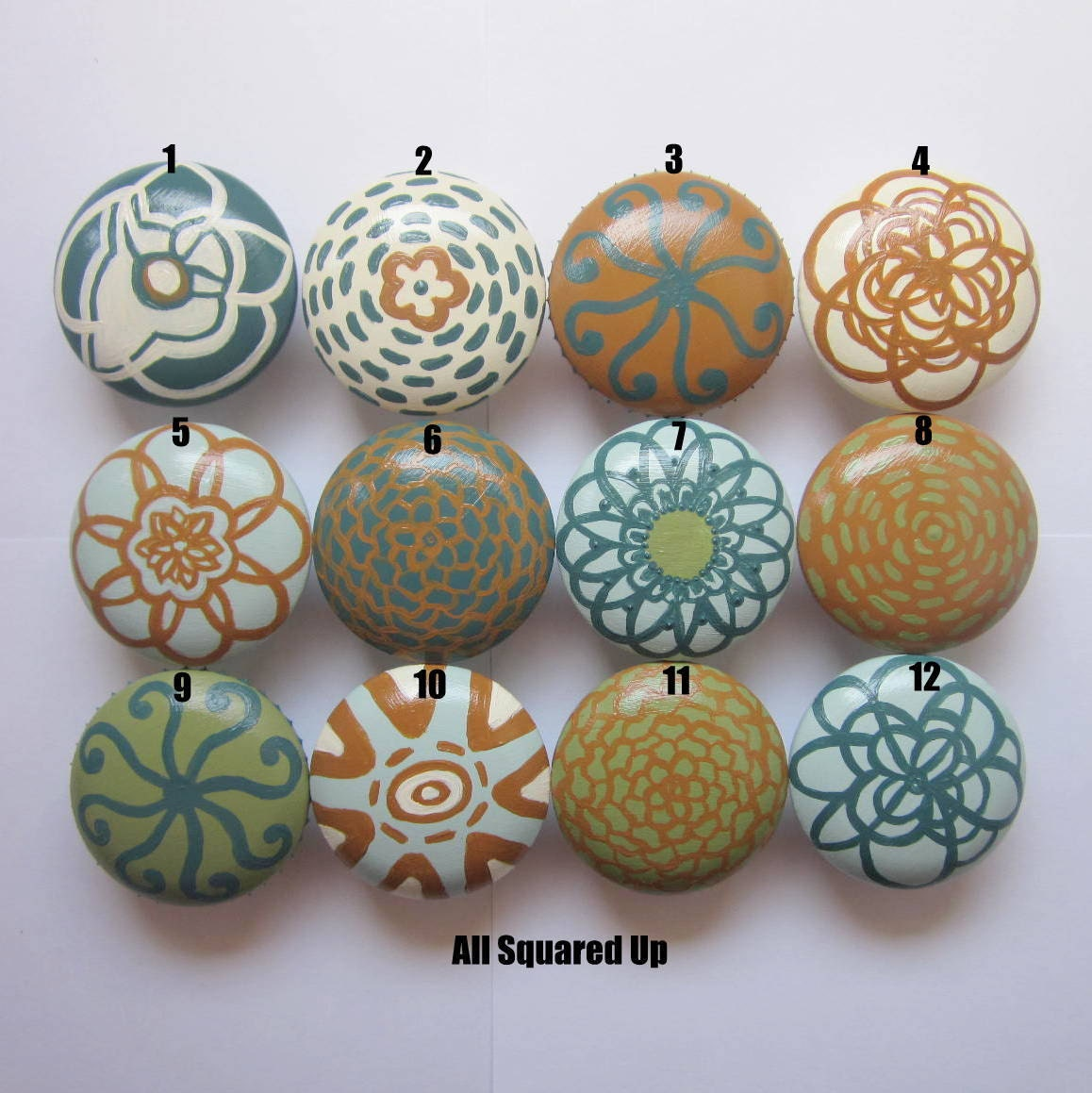 Custom Home Decor Hand Painted 2 Drawer Knobs Totally