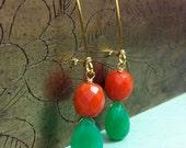 Green Jade Drops and Vintage Orange Lucite SALE