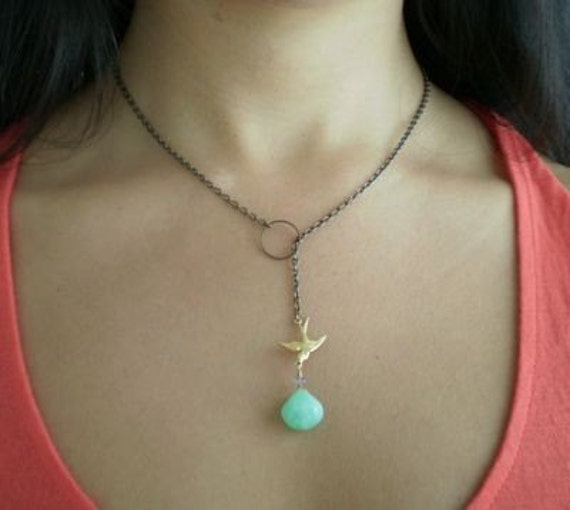 Green Chrysoprase and Swallow Lariat SALE