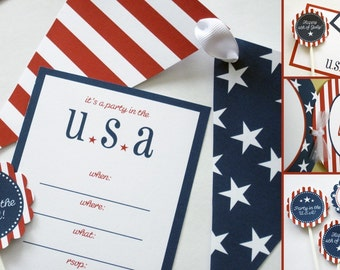INSTANT DOWNLOAD Party in the USA 4th of July Printable Party Package - by Sweet Papers