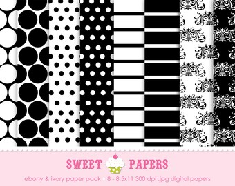 Ebony and Ivory Digital Paper Pack - Commercial or Personal Use - by Sweet Papers