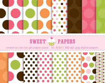 Sweet As Can Be Girl Digital Paper Pack - Commercial or Personal Use - by Sweet Papers