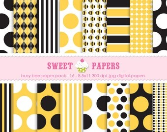 Busy Bee Digital Paper Pack - Commercial or Personal Use - by Sweet Papers