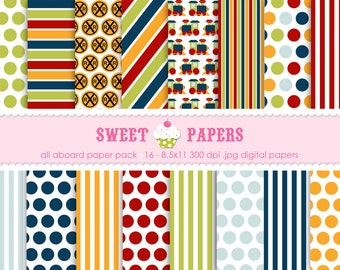 All Aboard Digital Paper Pack - Commercial or Personal Use - by Sweet Papers