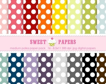 Medium Polka Digital Paper Pack - Commercial or Personal Use - by Sweet Papers