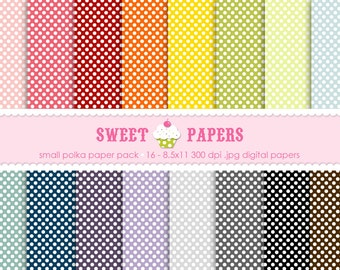 Small Polka Digital Paper Pack - personal and commercial use - By Sweet Papers