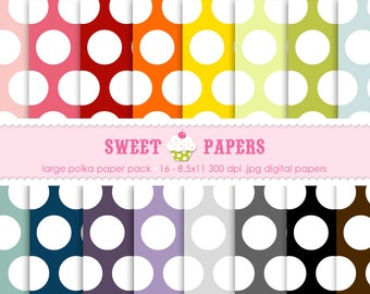Large Polka Digital Paper Pack - Commercial or Personal Use - by Sweet Papers