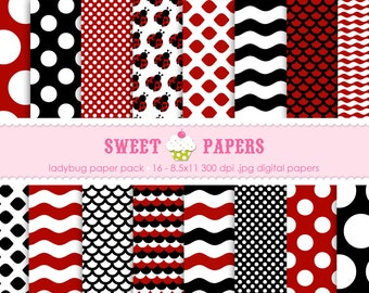 Little Ladybug Digital Paper Pack - Commercial or Personal Use - by Sweet Papers