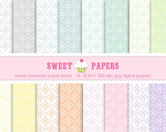 Dainty Damask Pastel Digital Paper Pack - Commercial or Personal Use - by Sweet Papers