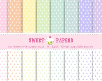 Pastel Small Stars Digital Paper Pack - Commercial and Personal Use - by Sweet Papers