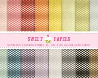 Grunge Mini Polka Digital Paper Pack - Commercial or Personal Use - by Sweet Papers