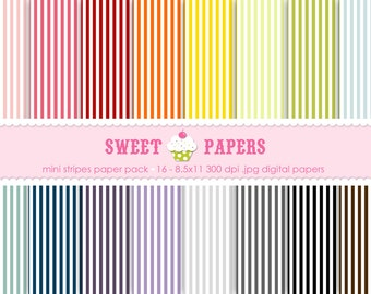 Mini Stripes Digital Paper Pack - Commercial and Personal Use - by Sweet Papers