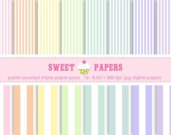 Pastel Stripes Digital Paper Pack - Commercial and Personal Use - by Sweet Papers