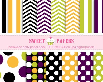 Halloween Party Digital Paper Pack - Commercial or Personal Use - by Sweet Papers