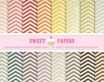 Large Grunge Chevron Digital Paper Pack - Commercial or Personal Use - by Sweet Papers