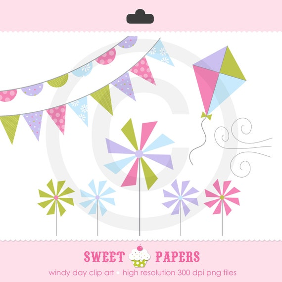 Windy Day Clip Art Set- Commercial or Personal Use - by Sweet Papers