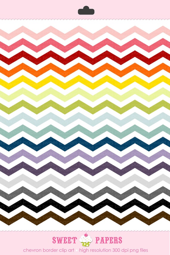 Chevron Zig Zag Border Clip Art Set - Personal and Commercial Use - from Sweet Papers
