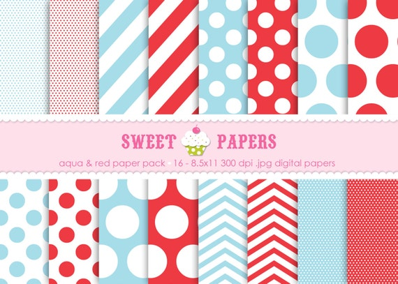 Aqua and Red Digital Paper Pack - Commercial or Personal Use - from Sweet Papers