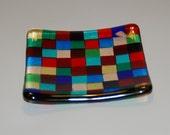 Multicolored Squares Fused Dish