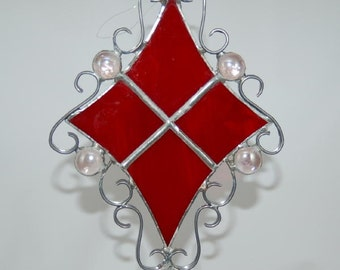 Filigree Suncatcher, Red with Pink Nuggets