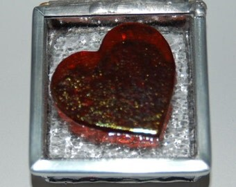 Iridized Heart Stained Glass Trinket Box
