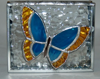 Raised Butterfly Stained Glass Box