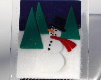 Snowman Fused Glass Tile