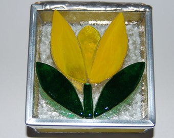 Yellow Tulip Stained Glass Trinket Box
