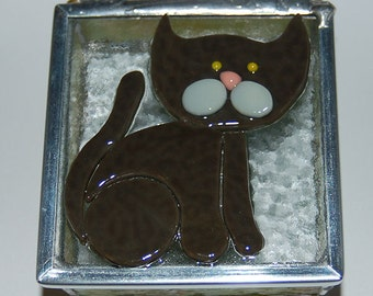 Brown Kitty Stained Glass Trinket Box
