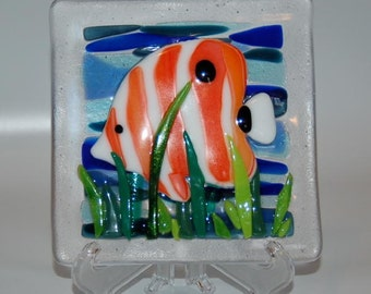 Underwater Scene Fused Glass Tile