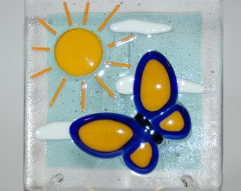 Fused Glass Butterfly Tile