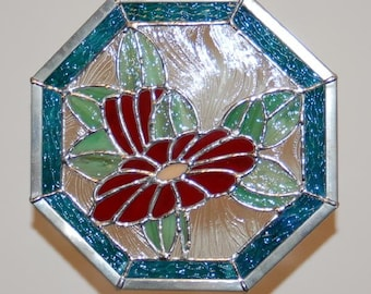 Red Flowers Octagonal Panel