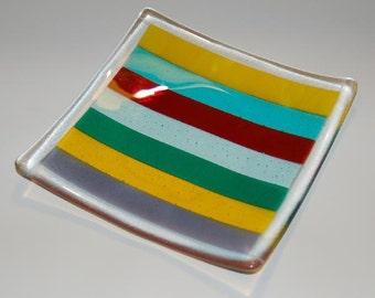 Multicolored Stripes Fused Dish