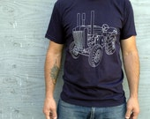 Clothing - Mens Tshirt - TRACTOR TSHIRT - Navy American Apparel Tshirt - S-Xxl - Gift for Men - Gift for Him - Tee Shirt - Heritage Inspired