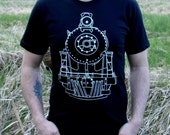 Gift for Dad - Men's Train Tshirt Cotton Screenprinted Graphic Tee