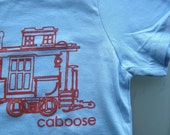 Train Tshirt - Kids Caboose Tshirt | Kids Tshirt -  Sizes 2,4,6 - Super Cute Baby Blue with Red Caboose T-Shirt for Toddlers and Kids