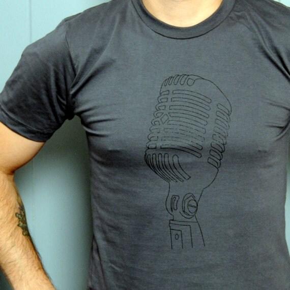 Clothing : Men's Music Tshirt - Shure Microphone Mens T Shirt - Asphalt Grey Mens Tshirt Size S, M, L, XL